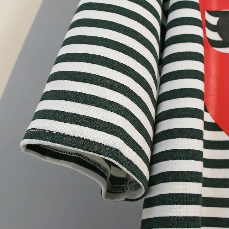 レディース ワンピース Tシャツワンピ ボーダー カットソー 半袖 プリント ゆったり カジュアル 大人可愛い フェミニン おしゃれ デート お出かけ 普段着 レッド グリーン 送料無料