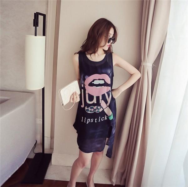 レディースワンピース 韓国無地 スリム 韓国のファッション ノースリーブシフォンワンピース   プリントワンピース 上品 ロングスカート ハイセンス 着心地いい おしゃれ 夏 スリム セール★ レディ