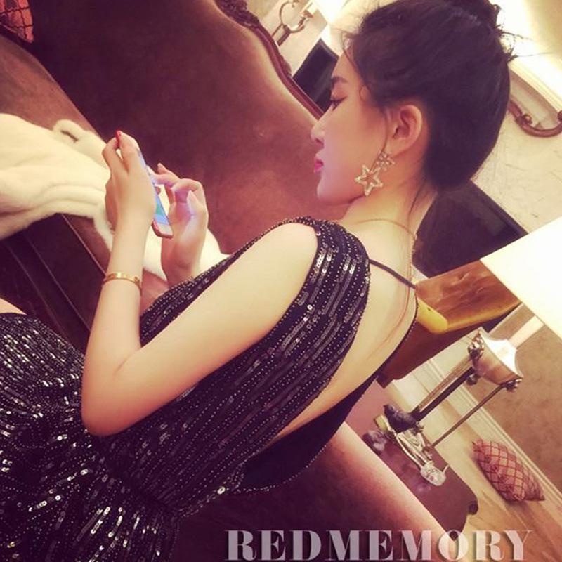 レディース スパンコール ワンピース ドレス イブニングドレス パーティドレス しゃれ 韓国 韓国ファッション 結婚式 パーティー 二次会 女子会 デート お呼ばれノースリーブブラックネイビーホワイトアイボリー
