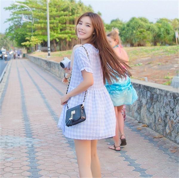 レディースワンピース 韓国無地 スリム 韓国のファッション チェックワンピース 荷葉ながら 丸首 プリントワンピース  学院風 ハイセンス 着心地いい おしゃれ 夏 スリム セール★ レディースワンピース