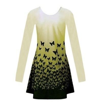 プラスサイズの女性のファッション蝶のパターンオムニタンクトップノースリーブまたはロングスリーブブラウスシャツS  -  5