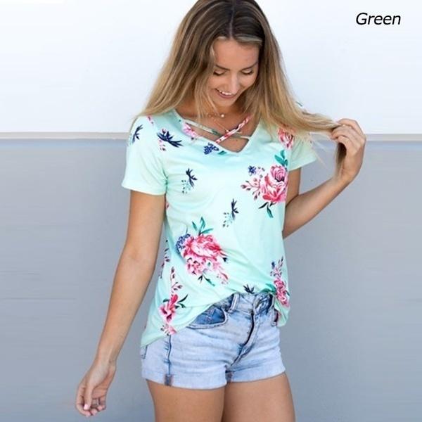 JNZZIレディースファッションVネックチェストクロスフローラルプリントショートスリーブカジュアルTシャツ