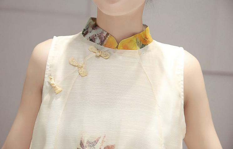 レディース シフォン チャイナドレス風 ノースリーブ ワンピース タイト ミニ きれい色