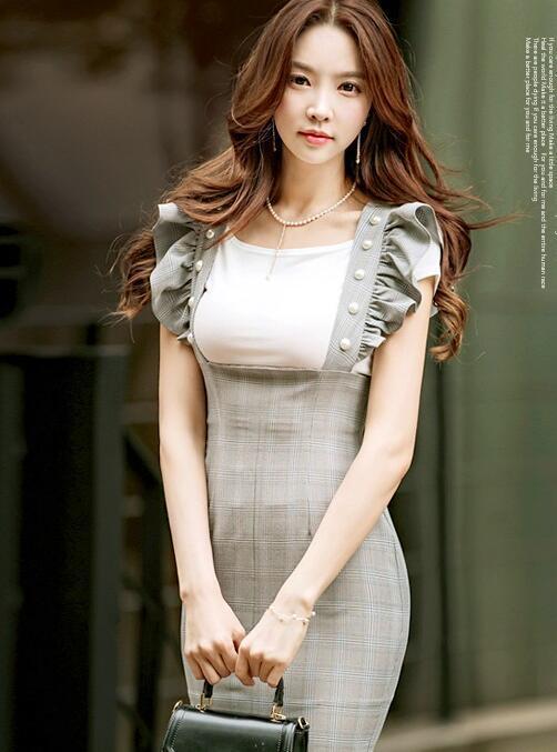 レディースワンピース 肩フリルクラブ 膝丈タイトドレス イベントパーティー 韓国スタイル