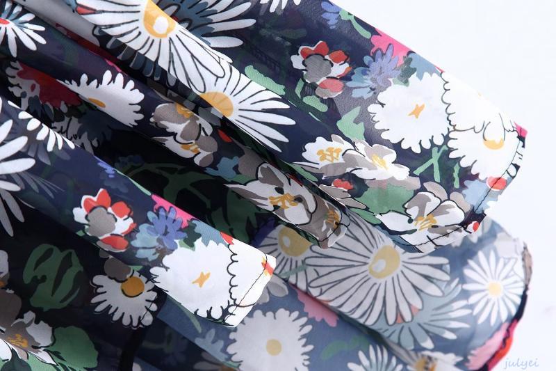 花柄ワンピース ロング丈  シャツワンピ 大人っぽく着こなヴィンテージの花柄 レディース 長袖ロングワンピース 前後差 ゆったり 体型カバー