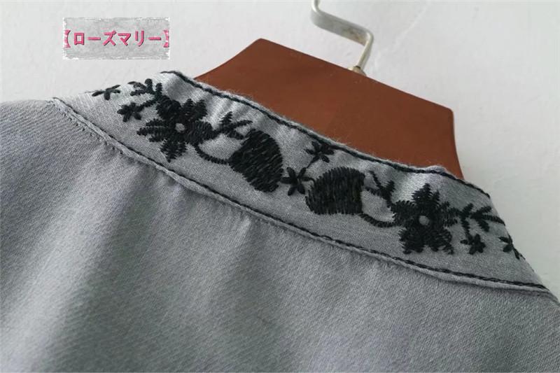 【ローズマリー】刺繍の短いワンピース 長袖ワンピース 刺繍レース ヴィンテージ調  ベーシック 大人気 花柄 -QQ4500