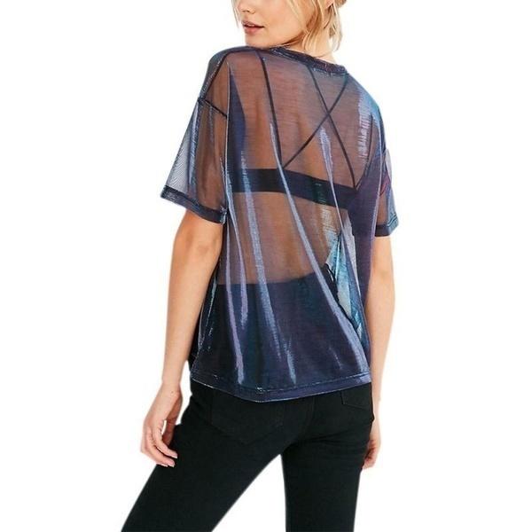 夏のセクシーなTシャツ女性を通して見るTシャツ半袖カジュアルトップスブラウスメタル仕上げfo