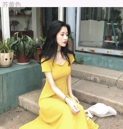 夏 アンティーク調 韓国風 着やせ 着やせ ストレッチ レジャー ドレス 単一色 気質