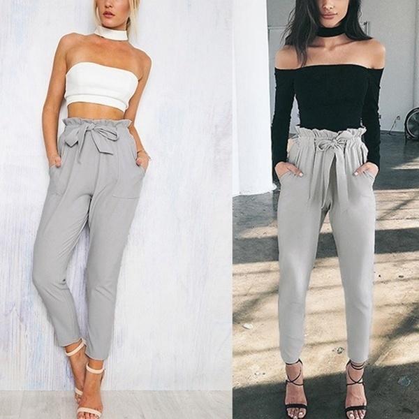 女性ファッションポリエステルルーズ全長ロングハレム弾性パンツカジュアルなズボン