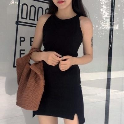 韓国/気質/不規則な/スプリット/着やせ/着やせ/黒スカート/女/夏/ノースリーブ/ワンピース