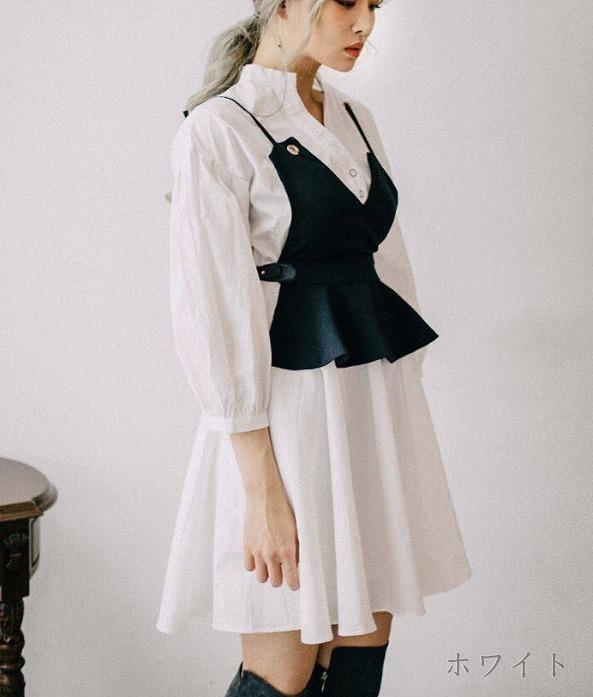 [55555SHOP]七分袖ワンピース2枚セット フレア ゆったり ホワイト