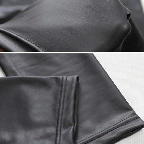 セクシーなブラックブラウンカーキレザーレギンス女性セクシーファッションPUタイツパンツワンサイズ