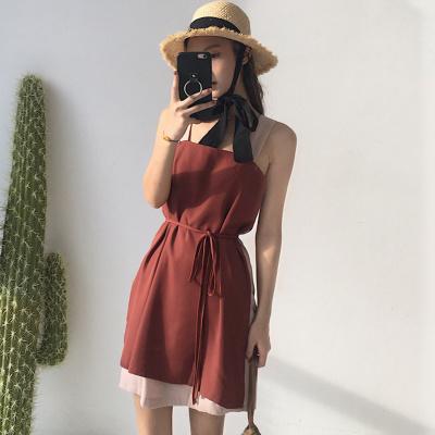 夏 新しいデザイン 女性服 アンティーク調 ヒットカラー スプライシング スリング スプ
