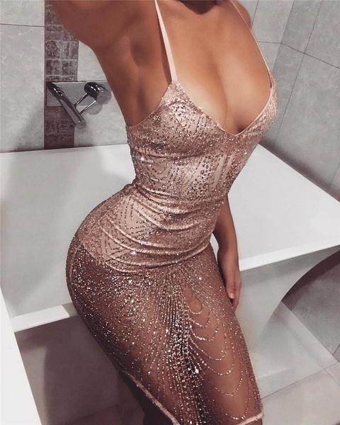 セクシーなイブニングカクテルパーティーシャイン透明なドレス女性スリムフィットストラップワンピース