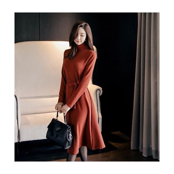 ワンピース レディース 無地 長袖 タートルネック Aライン 40代 ファッション 2017 秋 新作 ES-4461