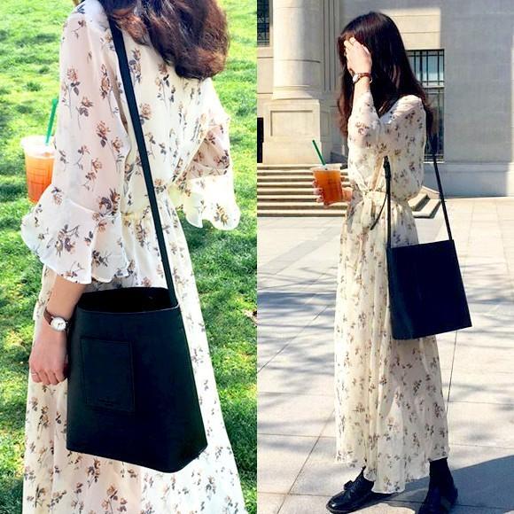 ワンピース シフォン 花柄 ロング カシュクール レディース ワンピ かわいい 盛り袖 七分袖 ふんわり きれいめ ドレス 韓国 ファッション