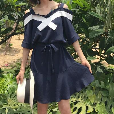 夏★新しいデザイン★韓国風★首輪★女性のスカート★ワンピース ★リボン★ラグラン袖★スリ