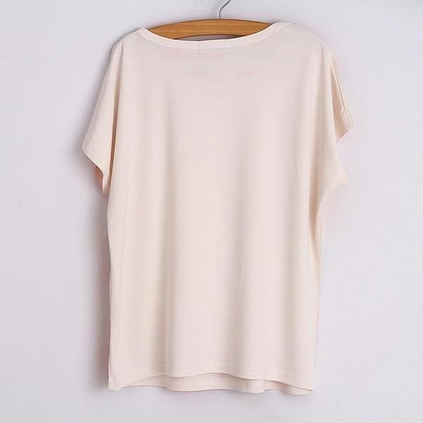 ANA Shop夏のファッションレディースO-ネックバットウィングスリーブマリリンモンロープリントTシャツルーズブラウス