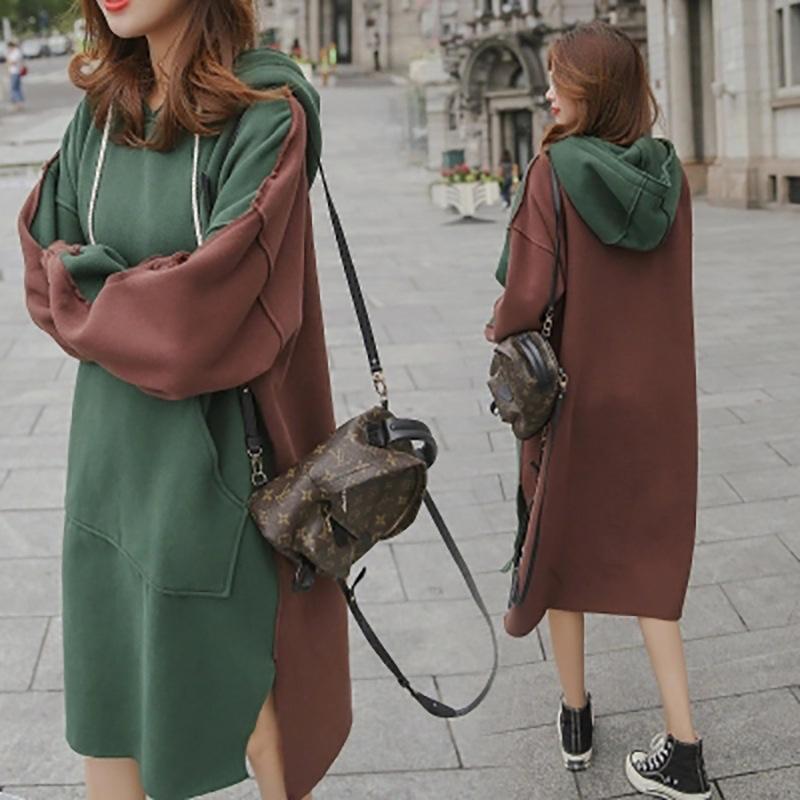 【RE】 ヒット・カラー フード付き 長袖ワンピース ゆとり 加絨 韓版 秋冬の新型 ドレス-SS1295