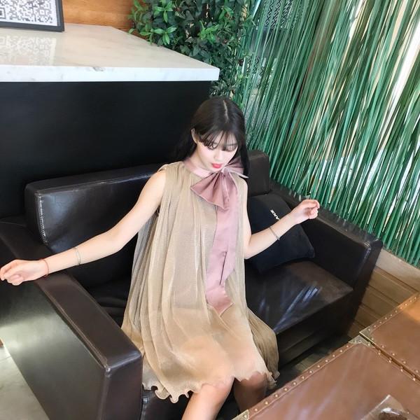 【送料無料】プリーツシフォンワンピース レディース ノースリーブ  シースルー パーティドレス 2017 新作 ファッション