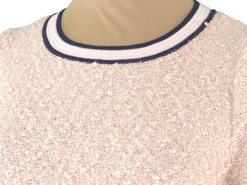 アナイ ANAYI ワンピース パイピング付き レディース ♯38サイズ フェイクポケット ニット ベージュ×ネイビー×ゴールド 綿74%ナイロン21%レーヨン5%(パイピング部分)綿50%アクリル5