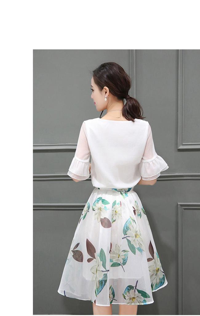 ☀夏新作☀【AYA】シフォン  シャツ+スカート  レイヤード♥プリント ラウンドネック エンパイア 台形スカート 着痩せ スリム ★ 女性らしい、一枚でお洒落♪