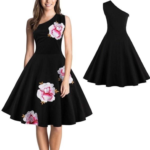 プラスサイズS  -  4XLヴィンテージドレス50S 60Sレトロドレス女性エレガントな刺繍の花セクシーな1つのShoulde