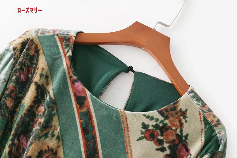 【ローズマリー】欧米風2018早春ファッション新型クルーネック長袖ビロードハイプリントのワンピース 長袖ワンピース ヴィンテージ調  ベーシック 大人気-QQ5522
