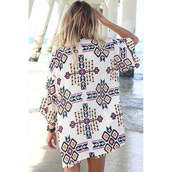 カジュアルな女性のシャツスリークォータースリーブルーズストライプのVネックバットブラウスシャツ