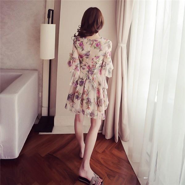レディースワンピース 韓国無地 スリム 韓国のファッション フレアスリーブ ボヘミア シフォンワンピース   プリントワンピース 上品 ロングスカート ハイセンス 着心地いい おしゃれ 夏 スリム セ