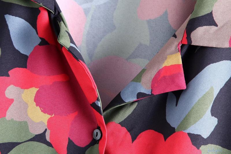 欧米風ヴィンテージ花柄 シャツの襟のワンピース ロング袖 袖口ボタン シングルブレスト 花柄ミニワンピース ゆったり 着やせ