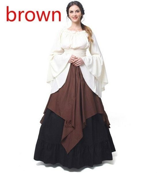 レディース中世のドレスルネッサンスレッドヴィンテージスタイルオフショルダードレス女性のコスプレドレスレトロロー