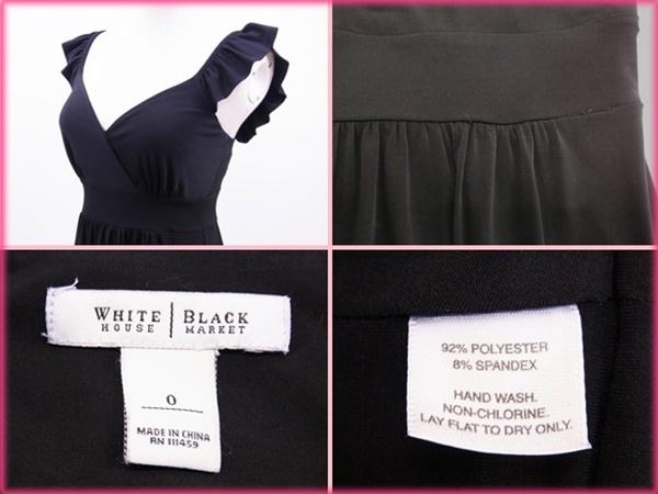 ホワイト&ブラック WHITE&BLACK ワンピース レディース ブラック ポリエステル (あす楽対応)(良品・即納)【中古】 R945 .