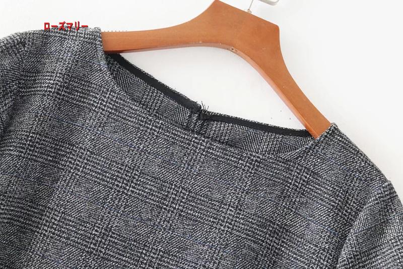 【ローズマリー】欧米風2018新型クルーネック半袖·ベンツ装飾着やせ格子のワンピース  ベーシック ワンピース  ベーシック-QQ5301