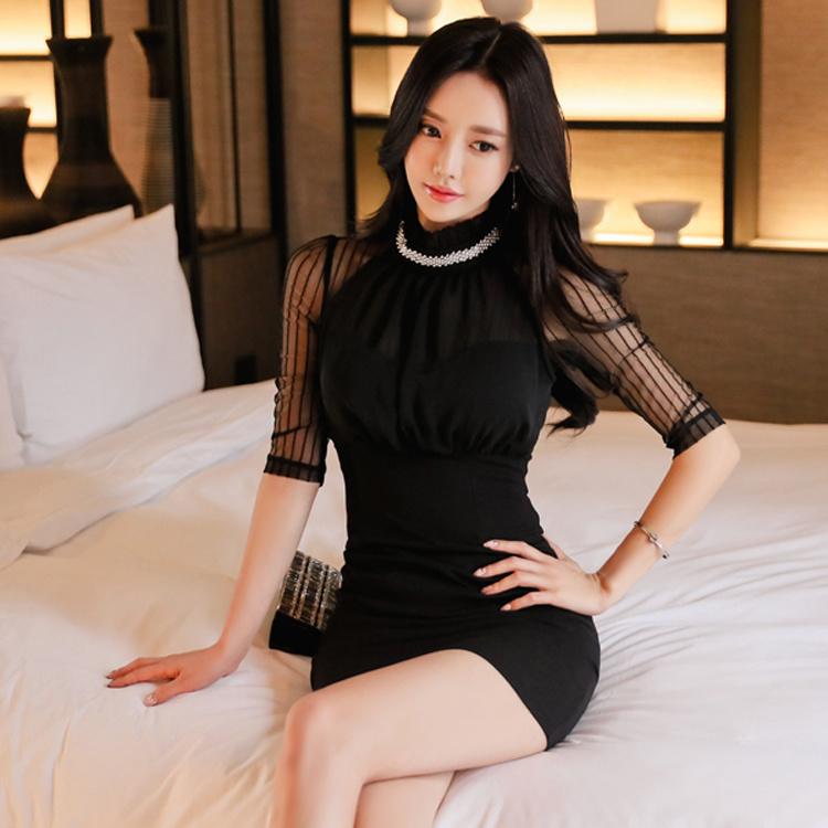 韓国風 切り替え セクシー スレンダーライン スタンドネック ビジュー付き 半袖 タイト ワンピース レディーズ女性
