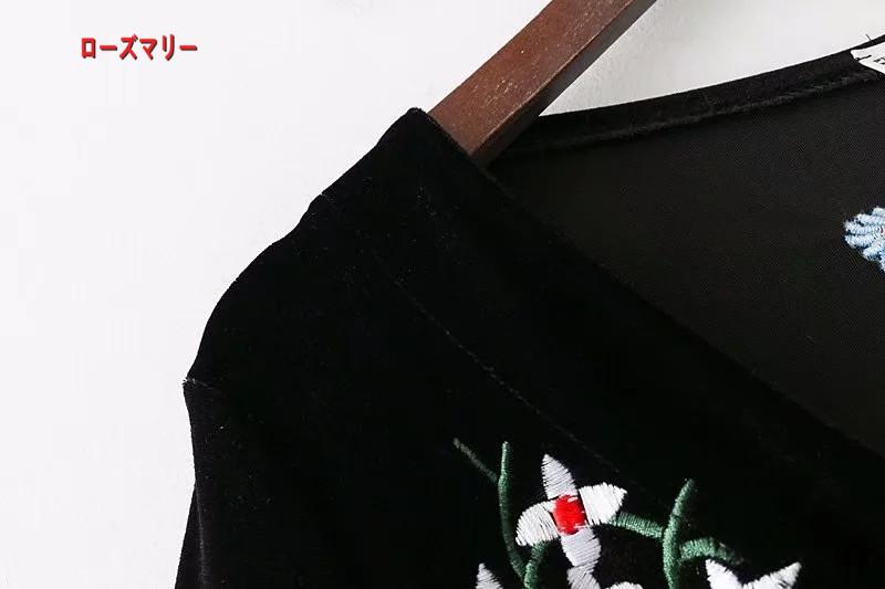 【ローズマリー】早く春2018新品欧米風女装刺繍装飾ビロードワンピース女裙 長袖ワンピース 刺繍レース ヴィンテージ調 大人気-QQ5900