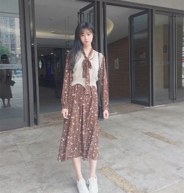 韓国ファッションリボンタイフラワーパターンワンピースとニットベストスーツ