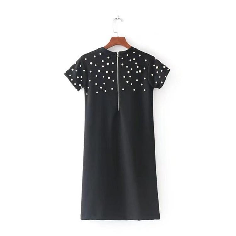 2017年秋冬の新型、欧米の風格のカラーでロングスカートは女百搭潮真珠半袖丸首修身ワンピース
