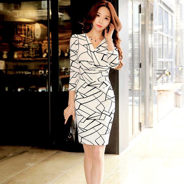 2016年秋冬新作Vネック長袖タイトスカート通勤スタイル着やせタイプレディースドレス大きいサイズ小さいサイズ