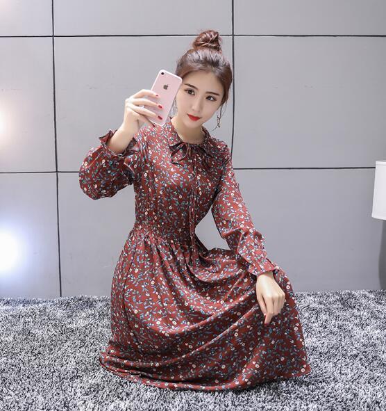 レイヤード風レースニットワンピース/上品 韓国ファッション /大人 長袖ワンピース/ラブリーした穏やかなフラワーパターンが愛しいワンピース
