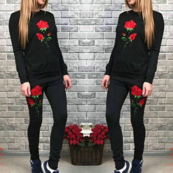 2個の女性の刺繍の花のパーカーロングパンツTracksuitのスウェットセット