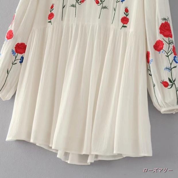 【ローズマリー】欧米風の女装花刺繍透かし彫り丸首スカート長袖腰着やせワンピース スイート 花柄 刺繍レース 长袖ワンピース  刺繍ワンピース -QQ1826