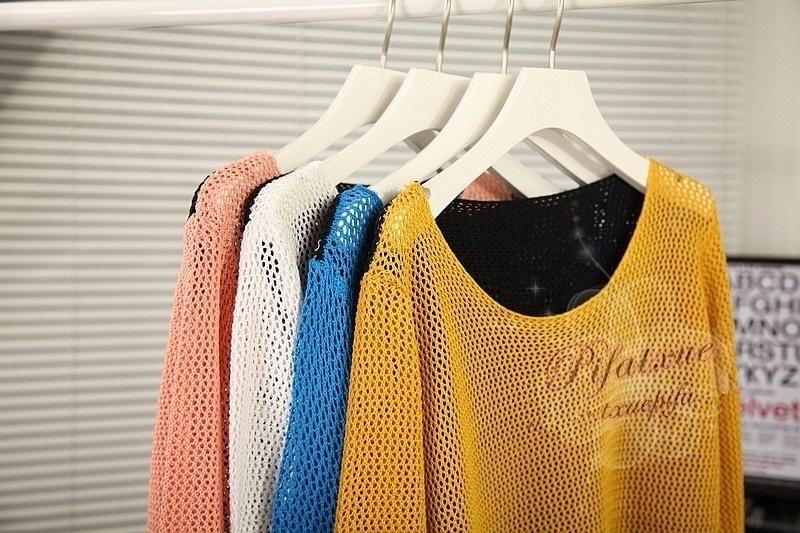 透かしニットチュニックセーター全4色