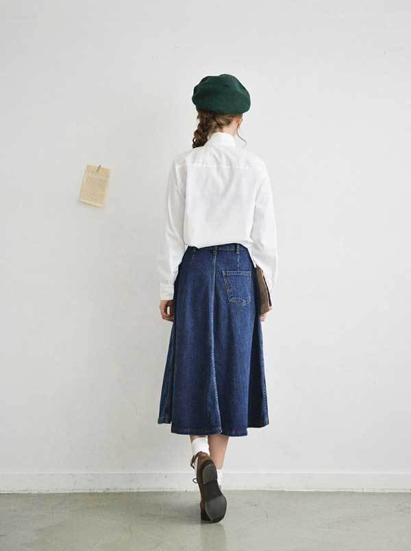 スカート ロングスカート デニム スカートミモレ丈 大きサイズ スカートハイウェスト レディース 大人 かわいい