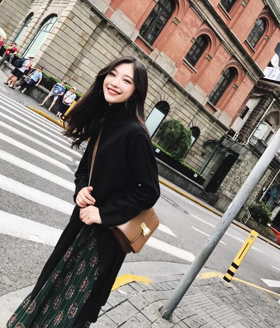 してハイネックしてワンピースが 韓国ファッション ワンピース ニット