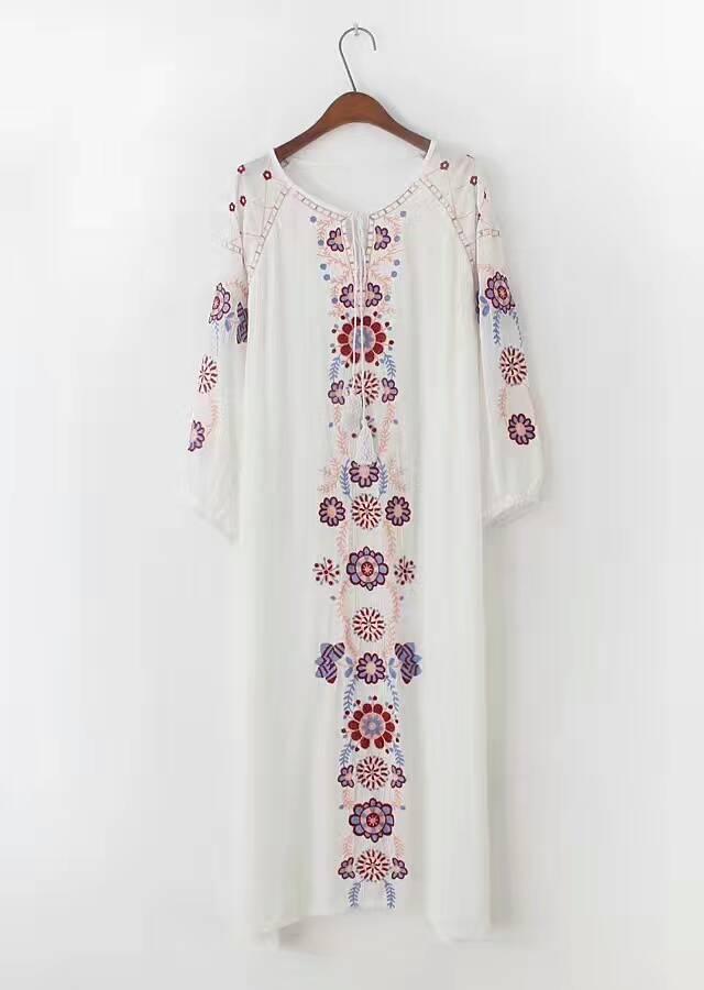 レディース ワンピース 新作 刺繍 ロング 着痩せ パーティー OL ドレス