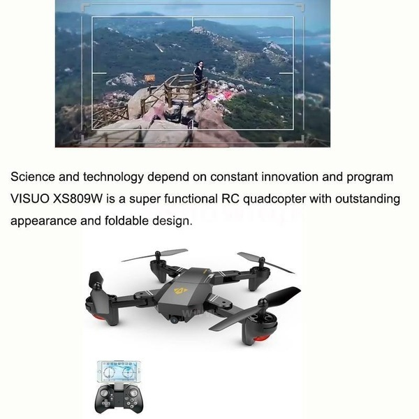 VISUO XS809HW Wifi FPV 2.0MP 720P 120°FOV広角HDカメラFoldable / Egg無人機/カメラなし