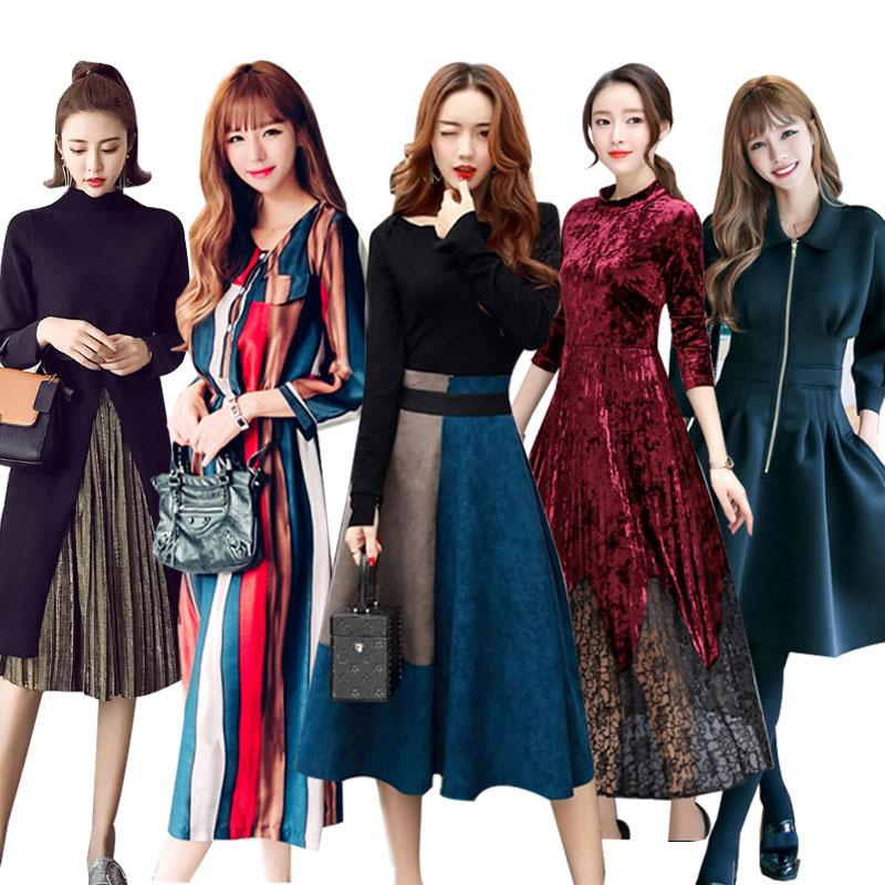 追加高品質 ワンピース 韓国ファッションワンピース秋冬 メリヤスワンピース ストライプのワンピース 长袖ワンピース 二点セットスカートニットワンピース