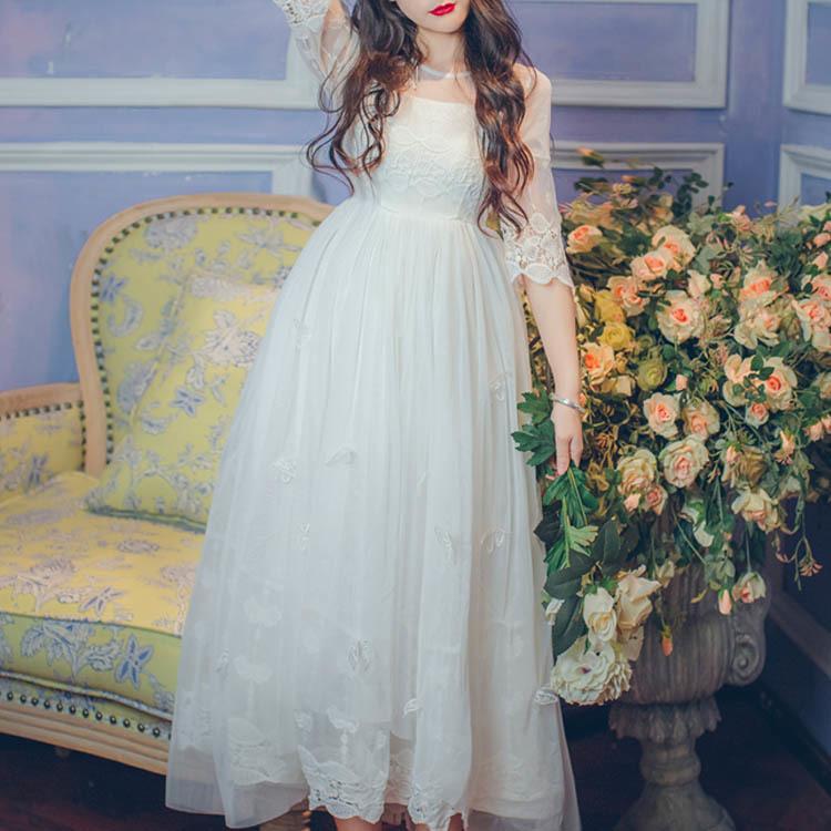 マキシワンピース 刺繍 五分袖 フレアシフォン 結婚式 春夏