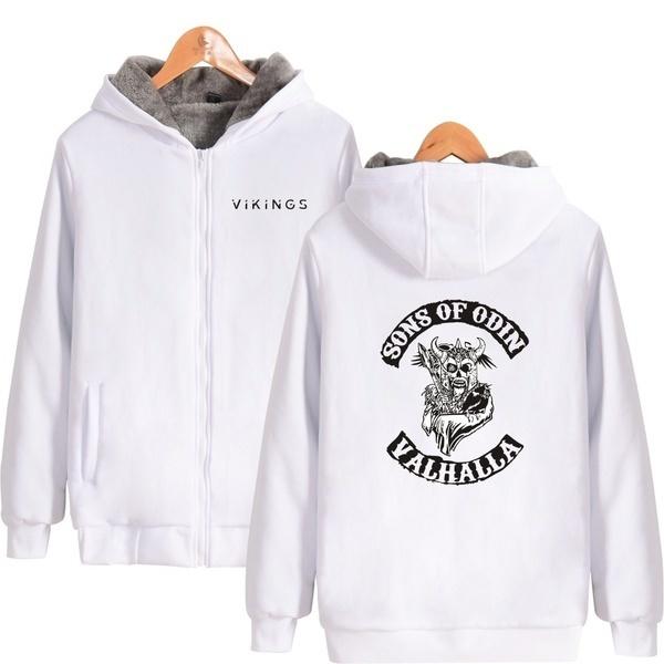 ODIN VALHALLA Hoodiesメンズフード付きジャケットの冬の暖かい厚手メンズフード付きコートウェアParks B